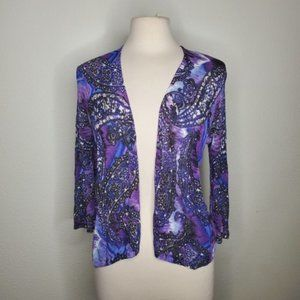 Chicos Purple Blue Paisely Open Cardigan